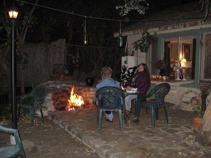 Friends around the firepit